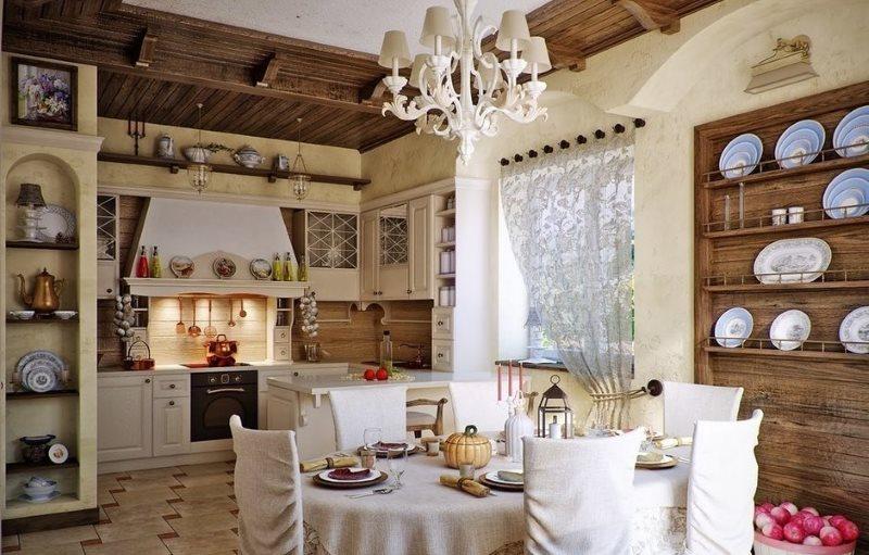Дерево на потолке кухни в стиле кантри