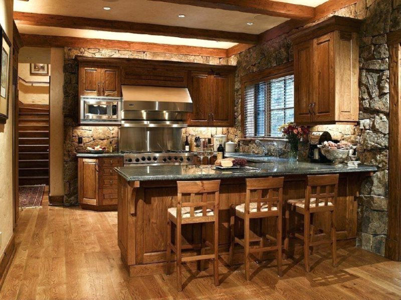 Барная стойка на кухне в стиле кантри