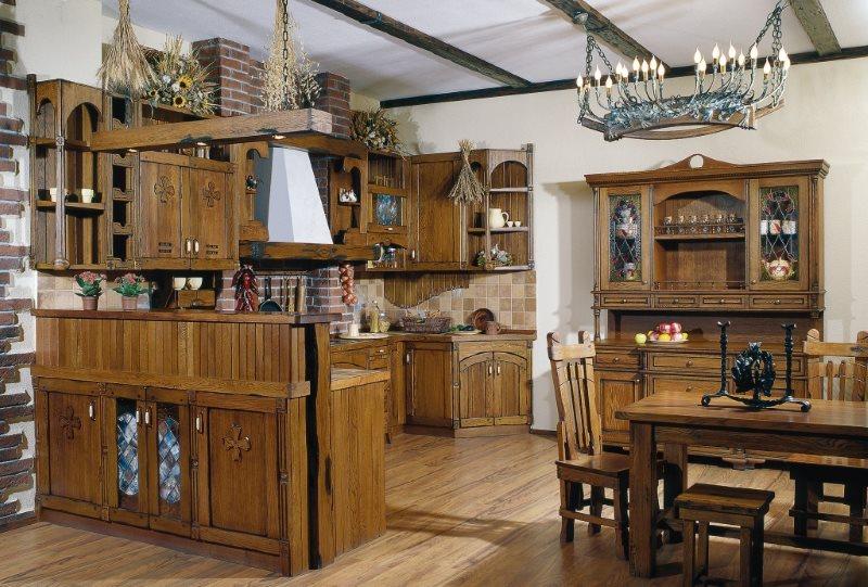 Деревянная кухня под старину из массива дуба