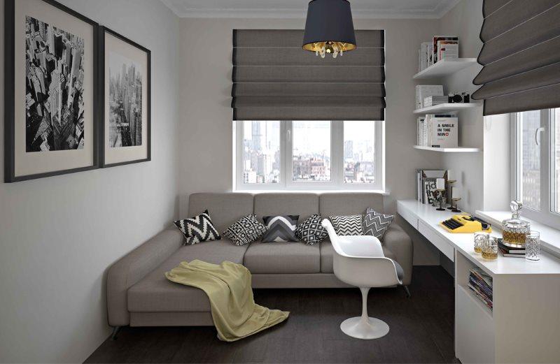 Серый раскладной диван в детской комнате