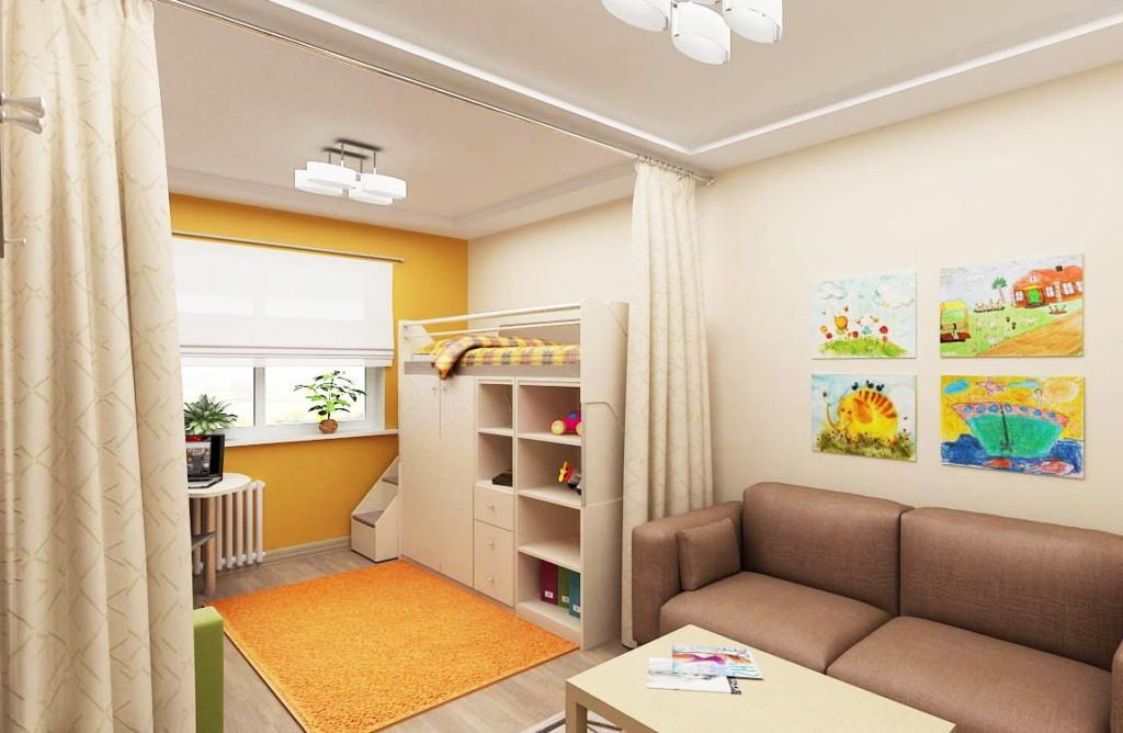 Занавеска на потолке квартиры-студии для семьи с ребенком
