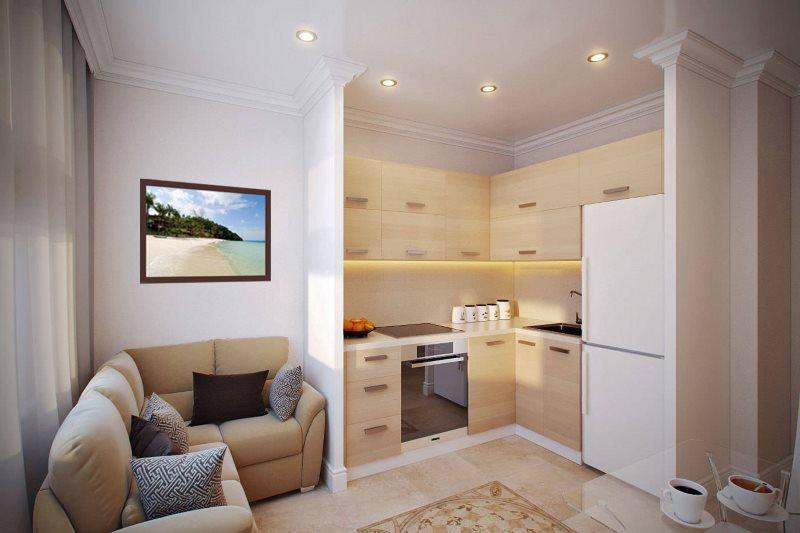 Дизайн кухни в однушке после объединения с гостиной