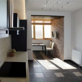 кухня совмещенная с балконом виды декора