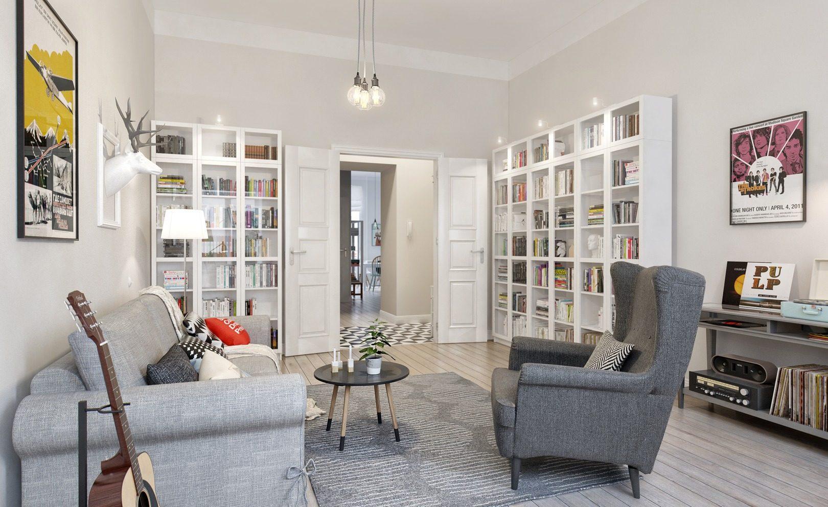 гостиная в скандинавском стиле дизайн