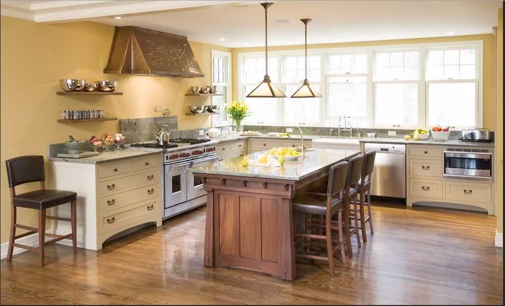 кухня без верхних шкафов кантри