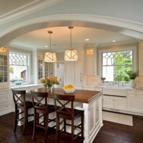 дизайн кухни с аркой фото интерьер