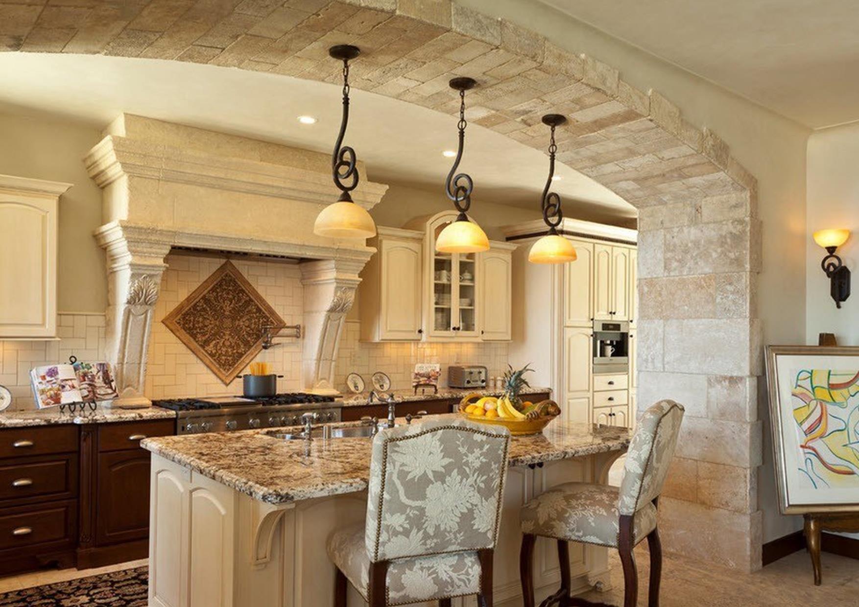 дизайн кухни с аркой вместо двери