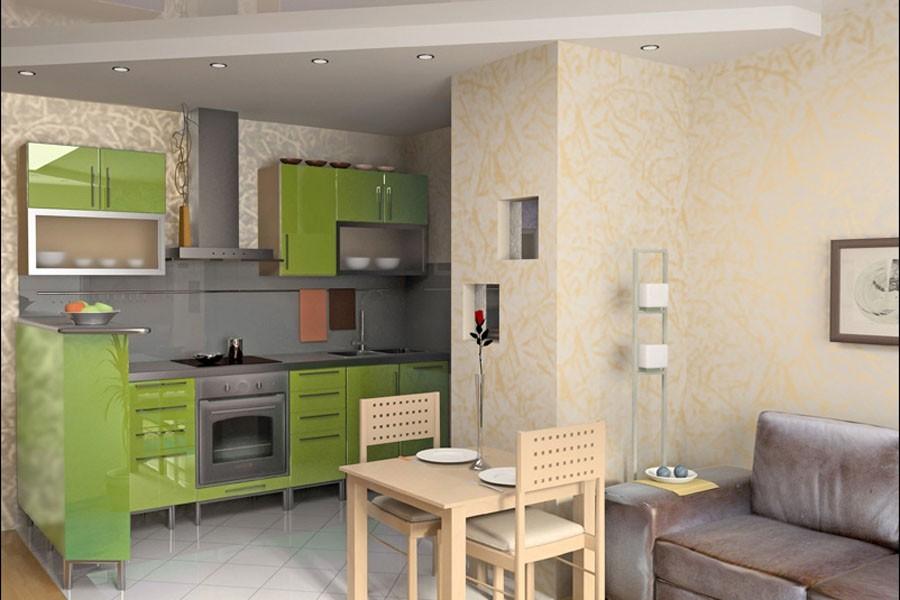зеленый дизайн кухни с вентиляционным коробом