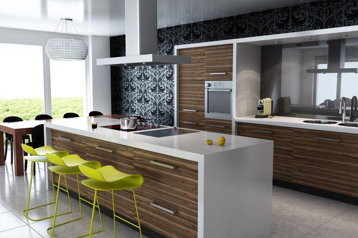 дизайн кухни 2019 остров