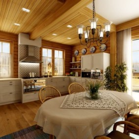 кухня в загородном доме фото варианты