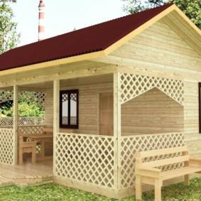 Летний домик из дерева для дачи