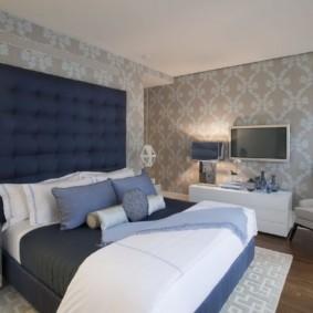 дизайн спальни 11 кв м с обоями