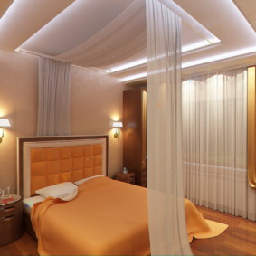 дизайн спальни 11 кв м в оранжевом цвете