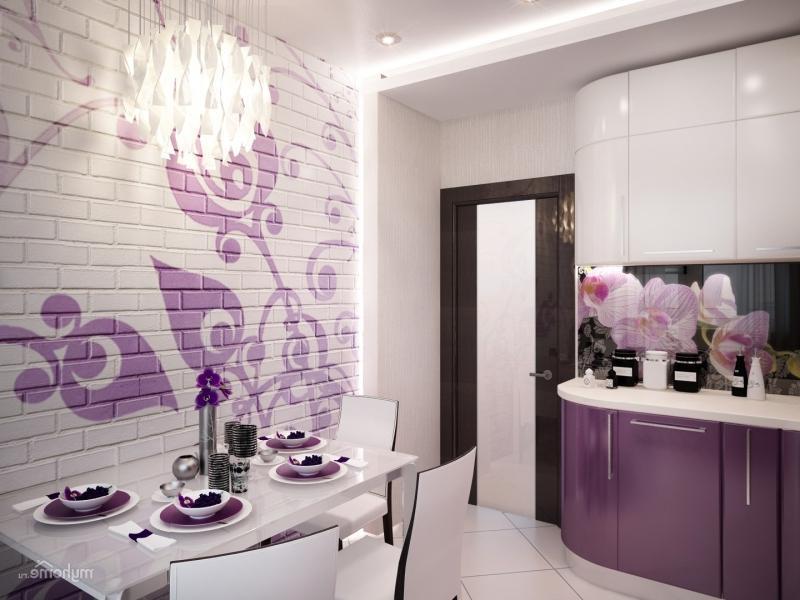 дизайн стен на кухне возле стола