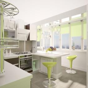Дизайн кухни с балконом в светлых тонах