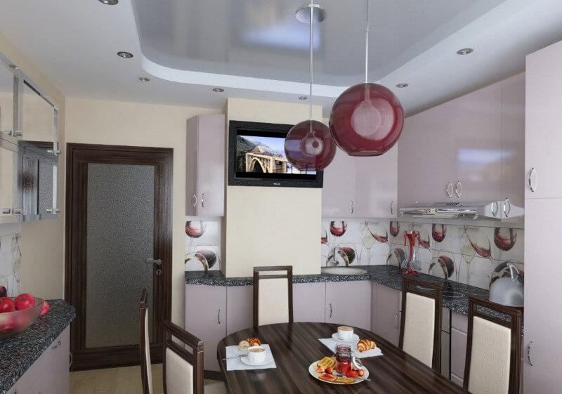 дизайн кухни с вентиляционным коробом и телевизором