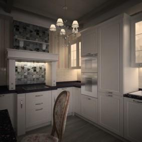 дизайн кухни с вентиляционным коробом мозаика