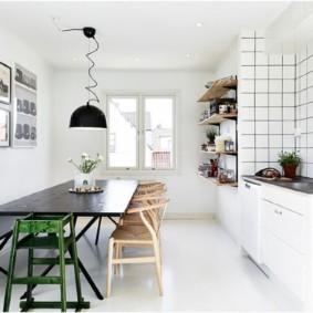 дизайн кухни с вентиляционным коробом планировка
