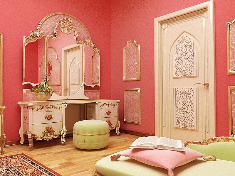 Розовые стены спальной комнаты