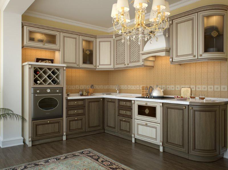 Угловая кухня с двухцветными фасадами