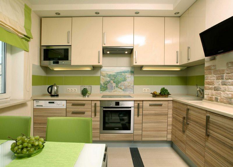 Угловая кухня в эко стиле