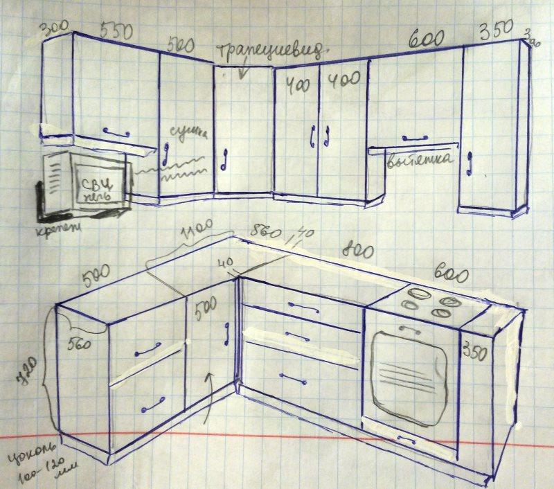 Эскиз кухонного гарнитура своими руками