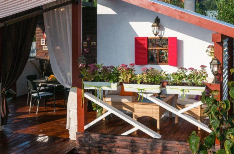 Фасад летней кухни открытого типа