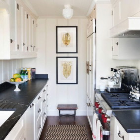 Двухрядная кухня узкой формы