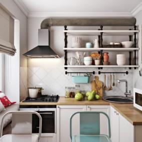 Открытая вытяжка на кухне частного дома