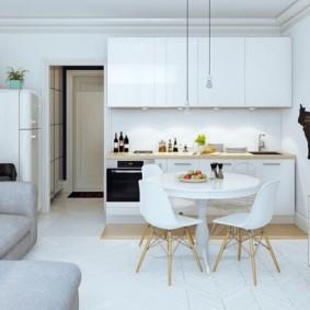Кухня=гостиная в белом цвете