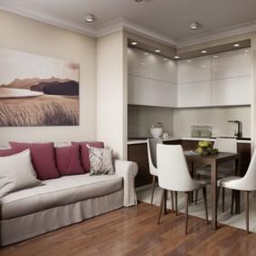 Зонирование кухни-гостиной напольным покрытием
