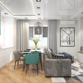 Двухуровневый потолок кухни-гостиной