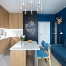 Зонирование кухни-гостиной цветом
