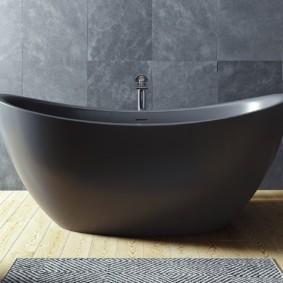 Темно-серая ванна из искусственного мрамора