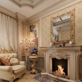Классическая гостиная с камином в частном доме