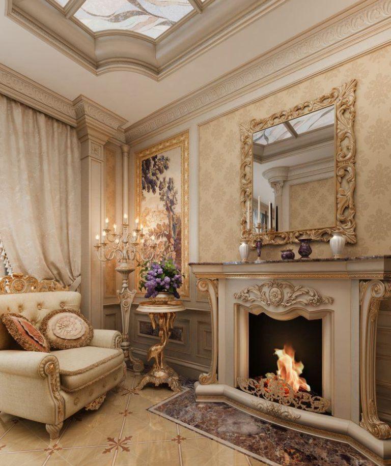 нарощенных гостиной в классическом стиле с камином фото вскрытии
