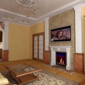 Дизайн гостиной с камином в стене