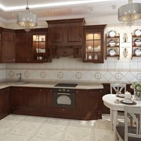 Дизайн кухни в стиле классика с угловым гарнитуром
