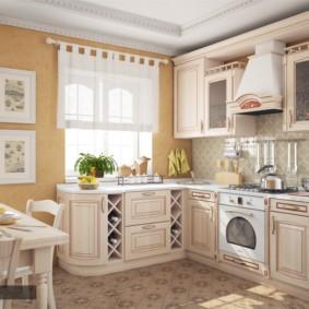 Угловой гарнитур в кухне частного дома