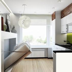 Откидная кровать в небольшой кухне