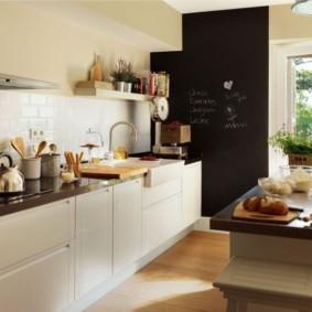 Черная стена в интерьере кухни