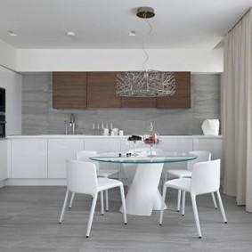 Кухня среднего размера в стиле минимализма