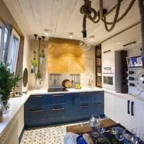 Оригинальный светильник из каната на потолке кухни