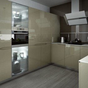 Дизайн кухни с ровными фасадами