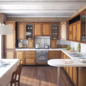 Дизайн кухни в деревенском доме