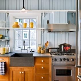 Обшивка вагонкой стен кухни