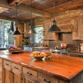 Массивная столешница кухонного острова