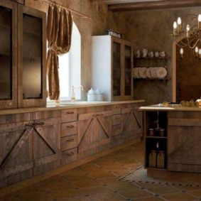 Деревянные дверки кухонных тумб
