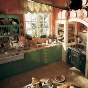 Зеленая мебель на кухне в стиле прованса