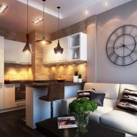 Освещение в современной кухне с диваном